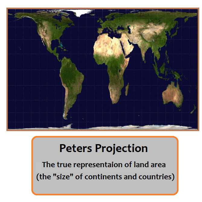 How true is our world map grind design and development tech blog peters projection true land area gumiabroncs Choice Image